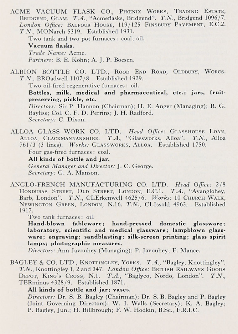 1951 Directory for the British Glass Industry: Companies A - Graces