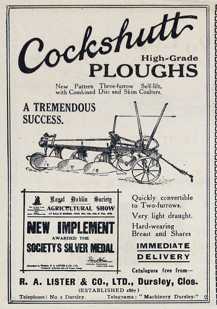 R A Lister And Co Cockshutt Wiring Diagram Nov 1919