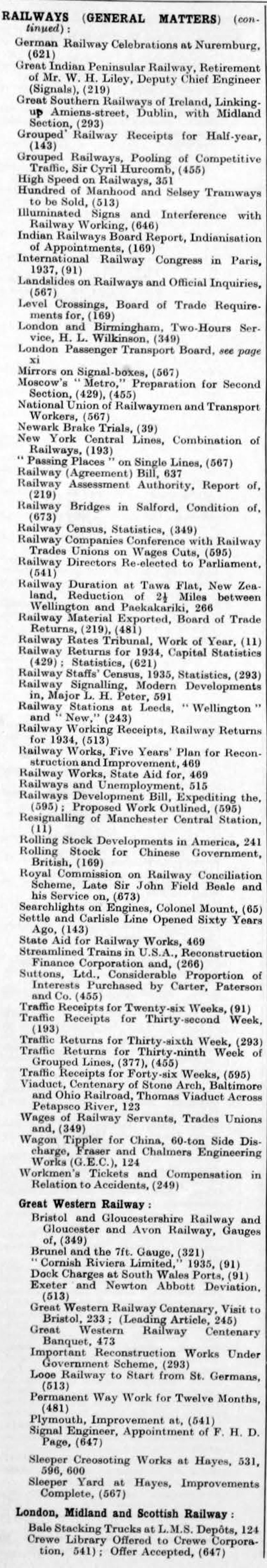 The Engineer 1935 Jul-Dec: Index - Graces Guide