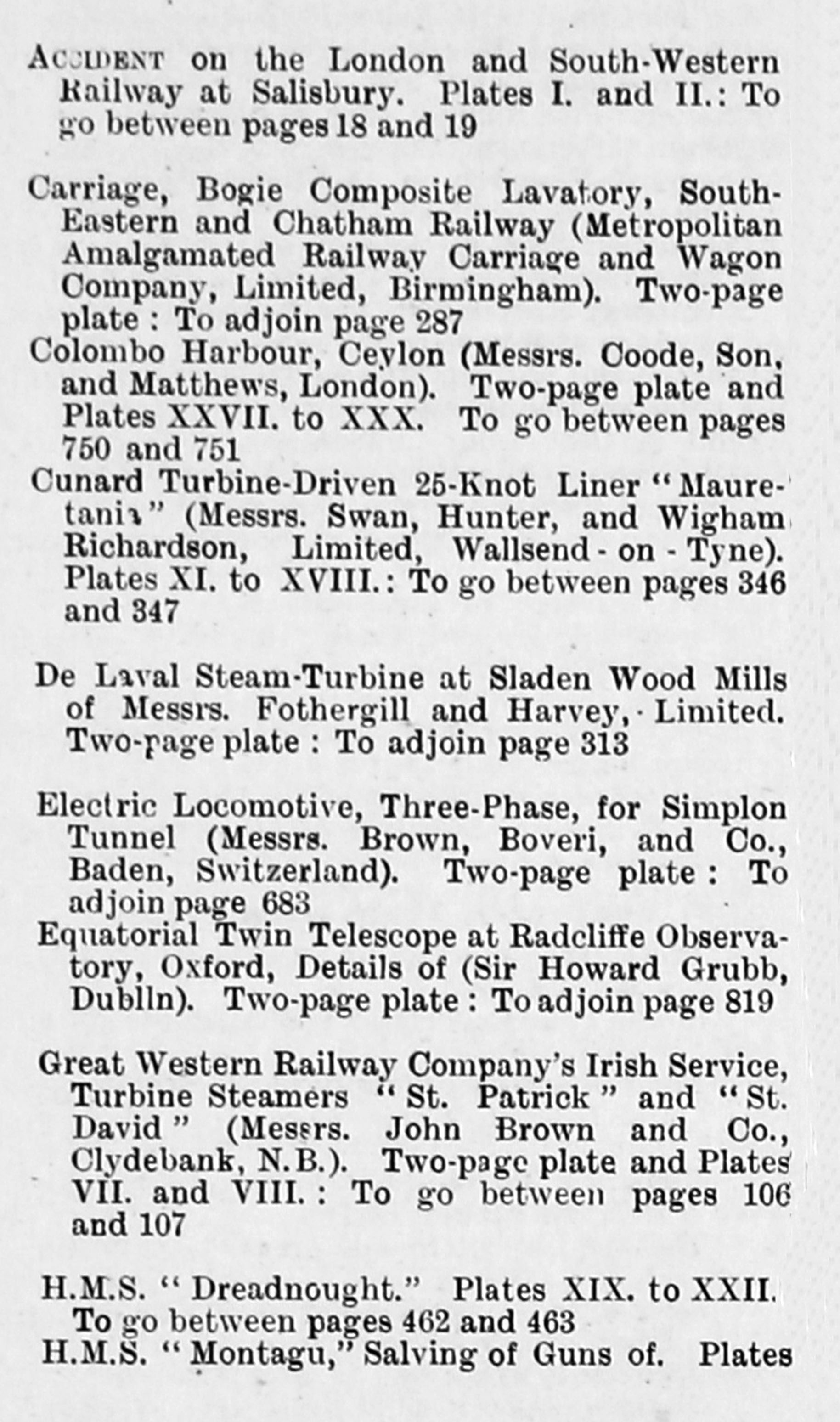 Engineering 1906 Jul Dec Index Two Page Engravings