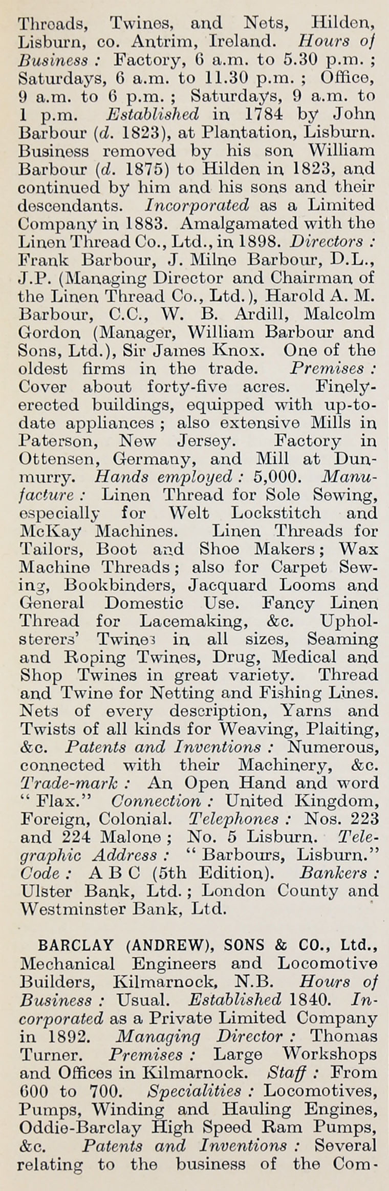1914 Who's Who in Business: Company B - Graces Guide