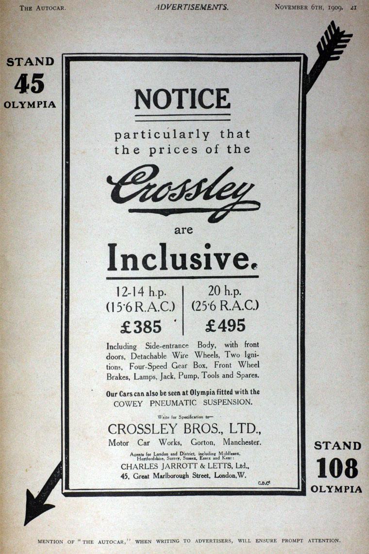 Crossley Motors Cars Crosley Car Wiring Diagram November 1909