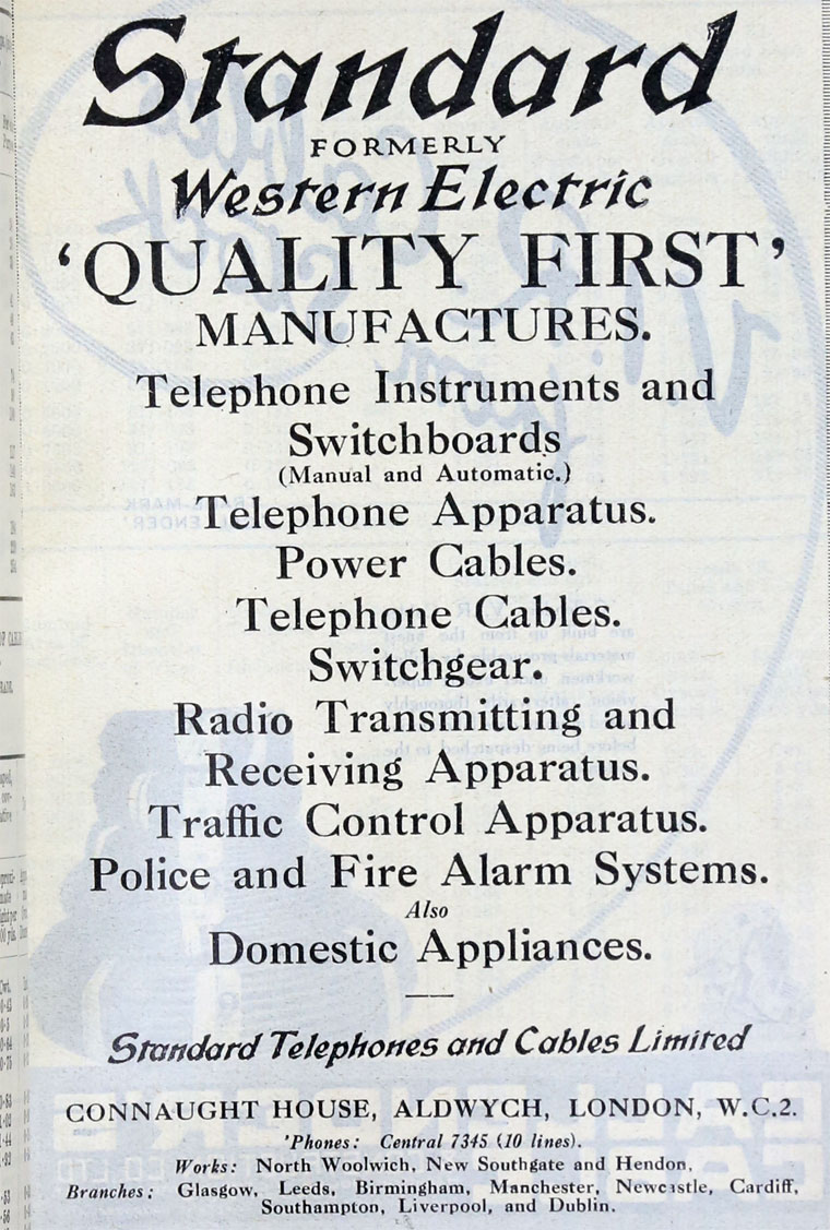 Standard Telephones And Cables Domestic Telephone Wiring