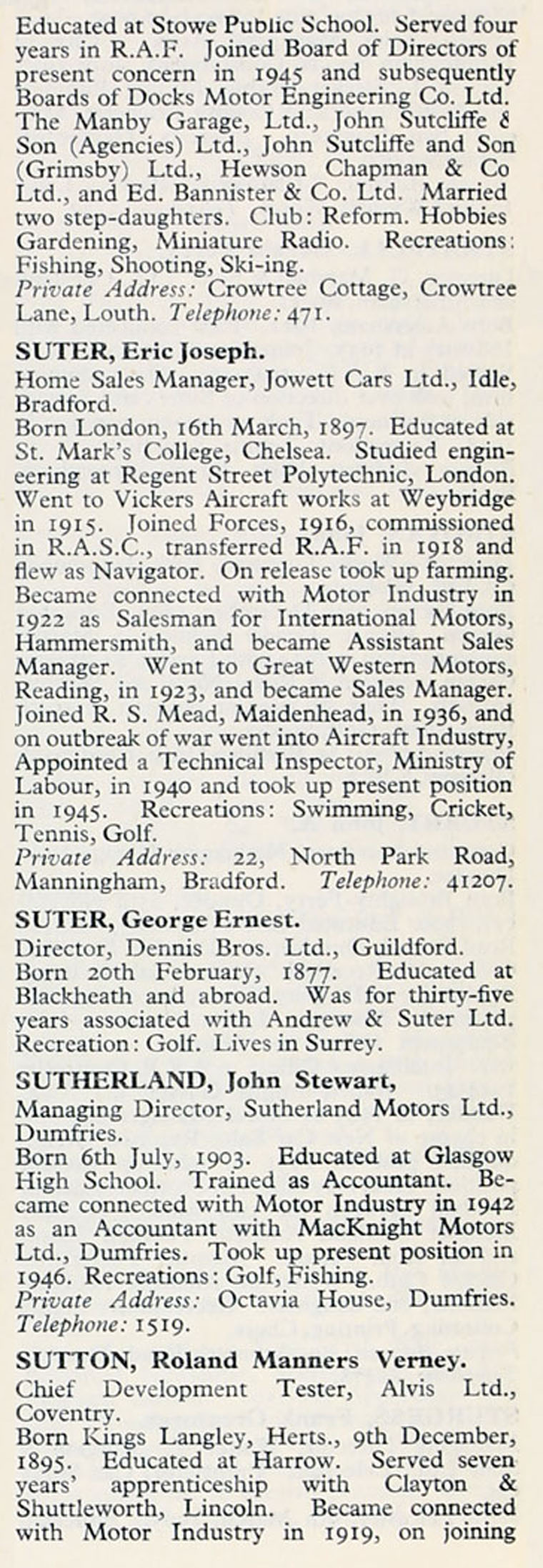 1953 Who\'s Who in the Motor Industry: Persons S