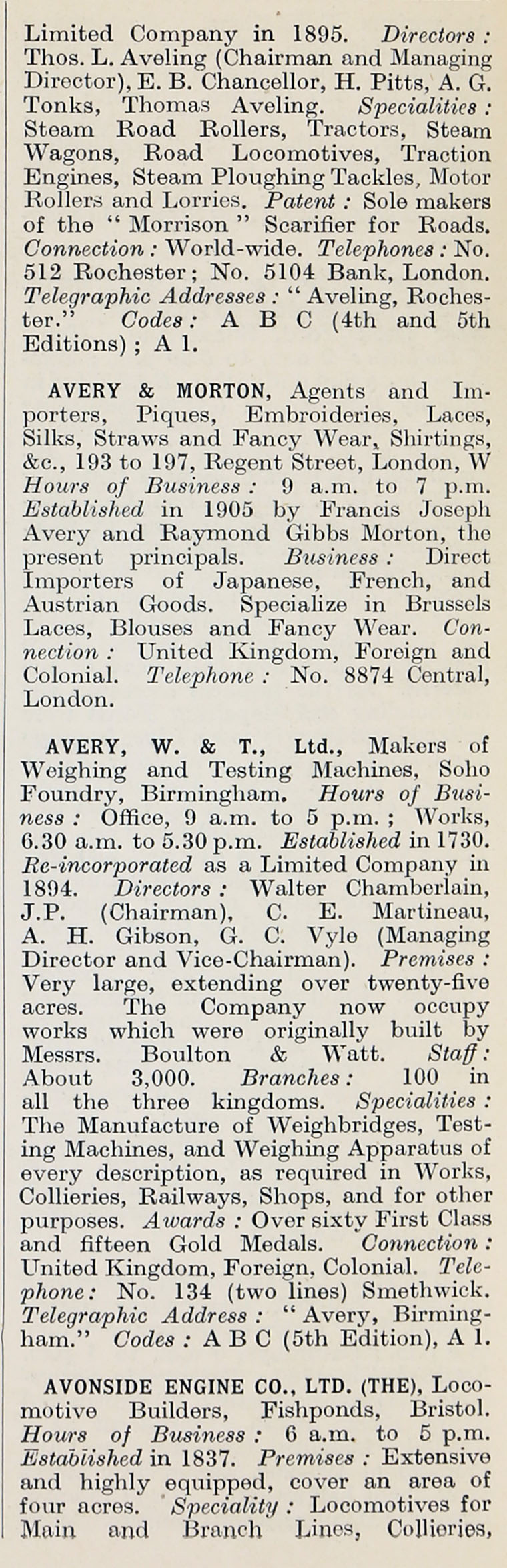 1914 Who's Who in Business: Company A - Graces Guide