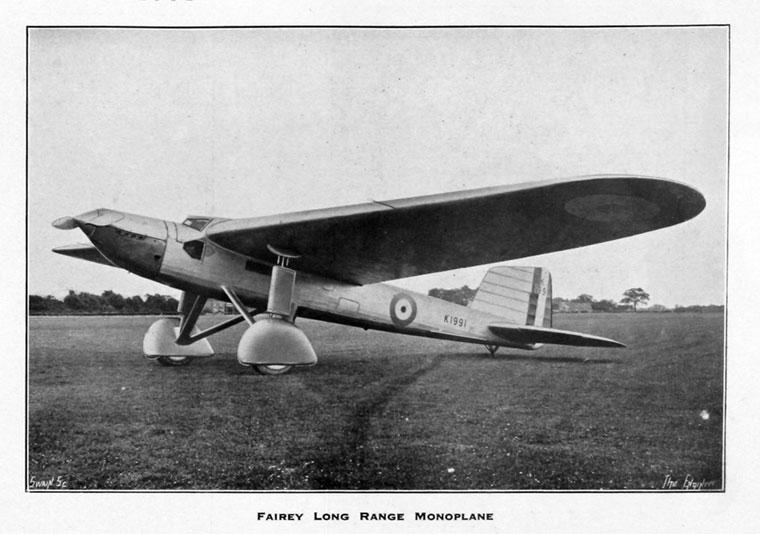 Fairey Aviation Co: Long-range Monoplane - Graces Guide