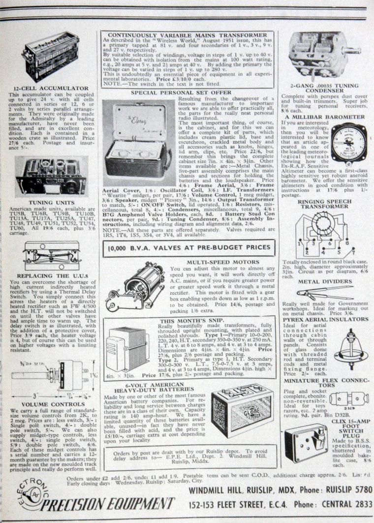 Electronic Precision Equipment B Wiring Diagram December 1951