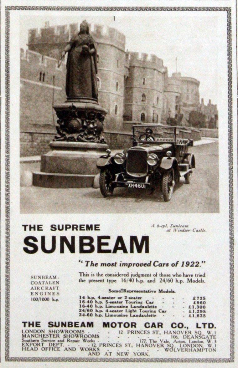 All sunbeam car company models list of sunbeam car company cars - March 1922