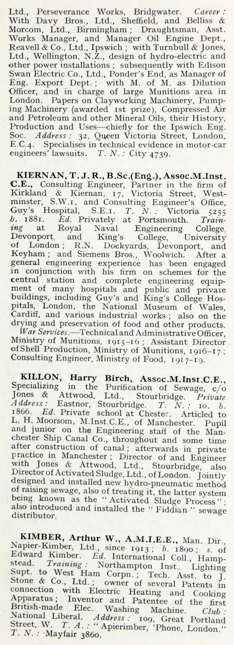 1922 Who's Who In Engineering: Name K - Graces Guide