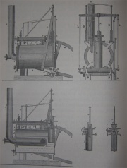Trevithick's Dredger Engine of 1803 and Locomotive of 1808. (See key below)