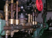 Wills engine at  showing the arrangement of cam-operated poppet valves