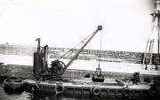 Priestman Brothers grab crane on dredger barge at Wick Harbour. 'Badger' - late 50s. Image courtesy of Chris Capewell Queens Park London.